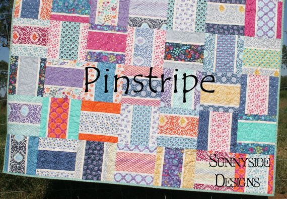 Modern Quilt Patterns For Beginners : Modern Quilt Pattern, Pinstripe, Moda Layer Cake Squares, Quilting Sewing, Quick Simple Easy ...