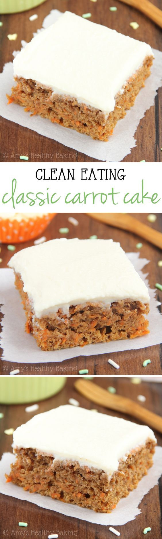 Clean-Eating Carrot Cake -- a healthy & easy, no-mixer-required recipe. The BEST one I've ever eaten! Made with NO butter, refined flour or sugar!