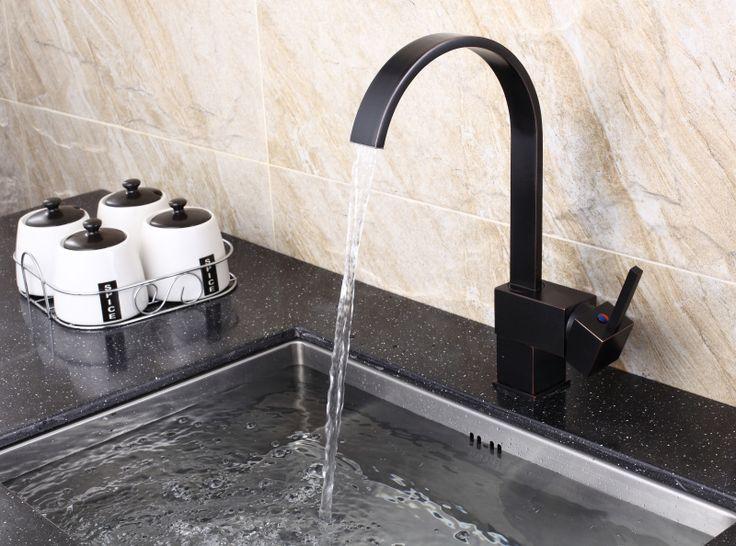 orb zwarte kleur vierkante keukenmengkraan waterkraan kraan torneira keuk cocina lanos accessoires banheiro in   van Keuken kranen op AliExpress.com | Alibaba Groep