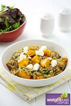 Pumpkin & Feta Risotto. #HealthyRecipes #DietRecipes #WeightLoss #WeightlossRecipes weightloss.com.au
