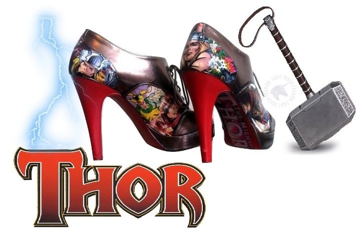 Thor comicbook high heels by GlumCandy!