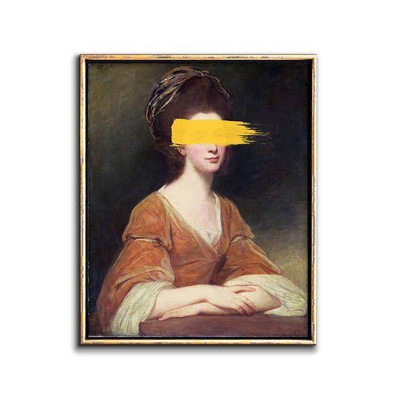 Altered Painting Modern Art Print Altered Art Modern Etsy In 2021 Vintage Portraits Painting Modern Art Prints Art Prints