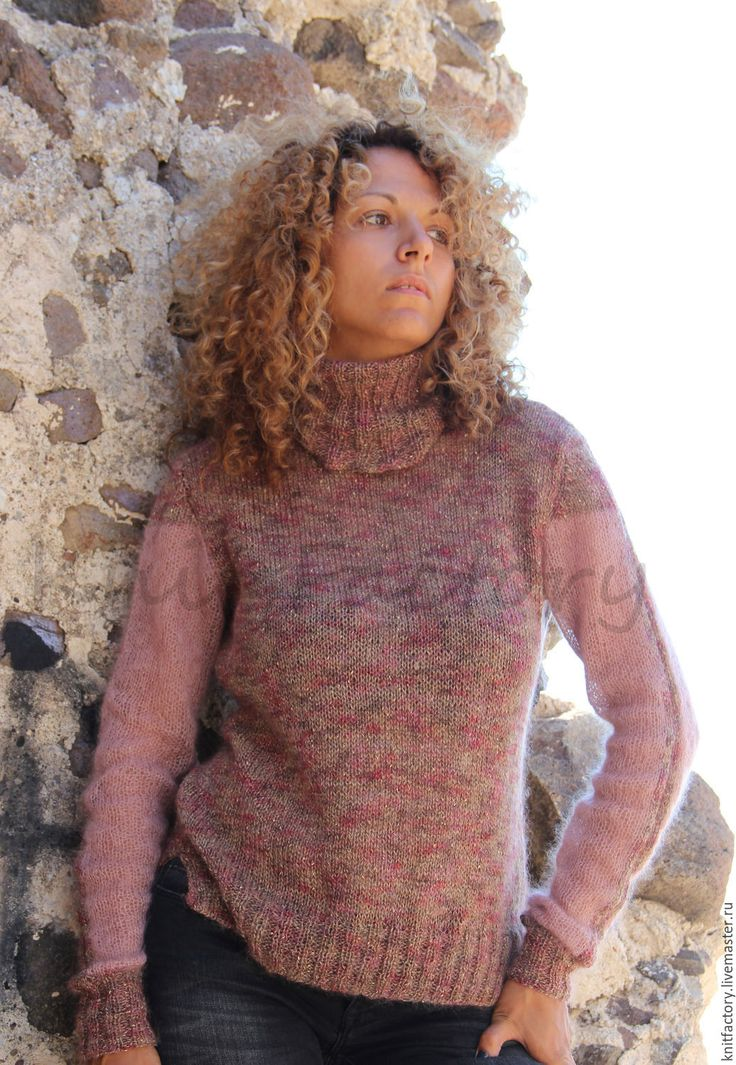 """Купить Свитер""""Shine"""" - бледно-розовый, однотонный, женский свитер, свитер вязаный, свитер, мохеровая кофточка"""