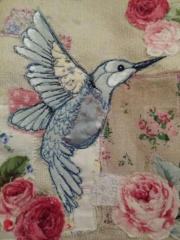 Www.facebook.com/bibliboo emily henson textile art applique hummingbird vintage fabrics