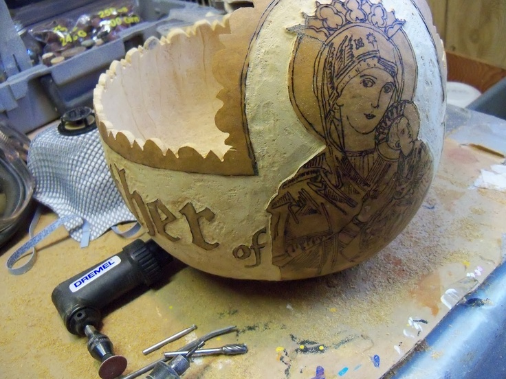 Mother of Perpetual Help Gold Leafed Gourd (Techniques: woodburning, carving, dying, embossing, gold leafing) by Bernadette Fox