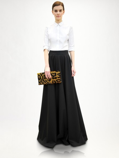 Jil Sander Wool Evening Skirt w/ leopard clutch