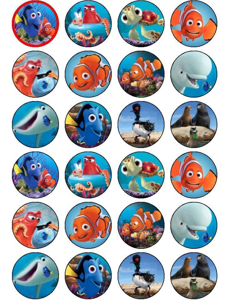 Finding Nemo / Dory Edible ICING Cupcake Toppers Party Decoration in Home & Garden, Parties, Occasions, Cake | eBay