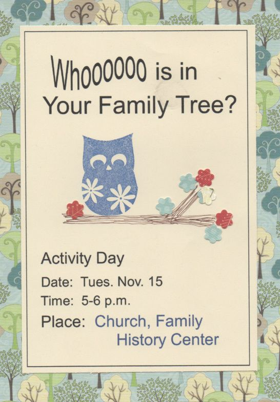 Make invitations for each activity days to pass out the Sunday before