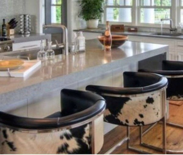 Cantilevered Chrome Barstool -Natural Cowhide Counter Stool - Tufted Leather - 10 Best Bar Stools Images On Pinterest