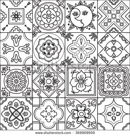 Talavera set of 16 mexican tiles. Seamless pattern. Adult coloring - stock vector