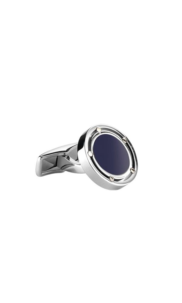 D.Side white gold, steel and lapis cufflinks