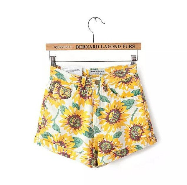 "Pant Style: Shorts Waist Type: High Waist Pattern Type: Sunflower Material: Blended Color: Photo Color Size: XS (US size) Bust: 31-33"", Waist: 23-25"", Hips: 33-35"" S (US size) Bust: 33-35"", Waist: 25-"