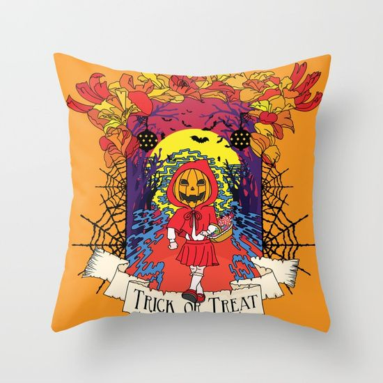 Jack o Red Riding Hood Throw Pillow by Little Monster on Society6. Shop art online