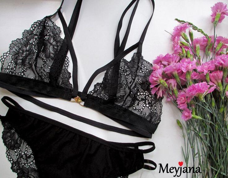 Black lingerie with strips. Нижнее белье с замочком спереди. Застегивать и снимать очень удобно - нижнее белье Мейджана, Meyjana lingerie