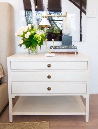 Smillie nightstand and Cleo table lamp in the master bedroom of the #Marguerite home on #BryanInc on @hgtvcanada, available at @cocoonfurnish. Photo: Alison Spencer. #bedroomdesign #cocoonathome #contemporarychic #cleolamp #smillienightstand #interiordesign #torontointeriordesign #refineddesign