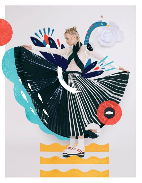 """Illustration for Harper`s Bazaar Art Indonesia - """"JAPONISM"""" Fashion Spreadfirst issue // May 2015"""