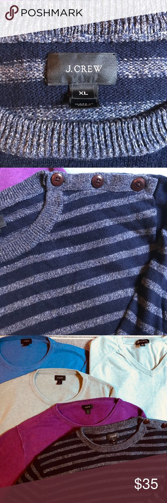 J. Crew Men's Crewneck Sweater (XL) Color: blue and silver stripes. Brown buttons on left shoulder. Sweater Sale! Add this striped sweater to a bundle with one or more J. Crew sweaters to receive a special discount! J. Crew Sweaters Crewneck