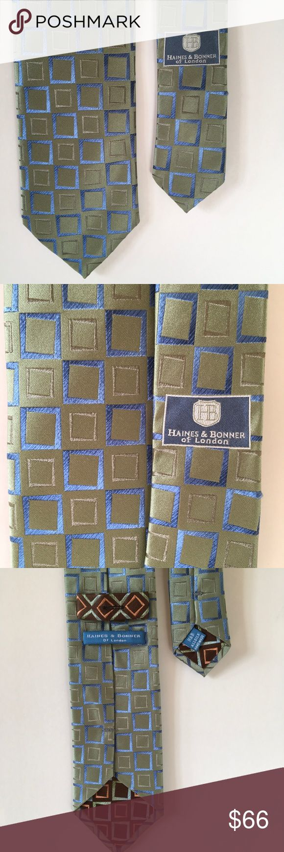 Modern silk 👔 tie by H&B of London Hefty and attractive 100% silk tie. Green with blue rectangles, like a modern take on midcentury. Has a slight sheen, so can catch the light beautifully. Haines and Bonner of London Accessories Ties