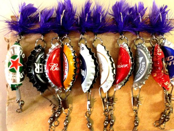 Beer Bottle Cap Fishing Lures Gifts for Men by JustBCre8tive