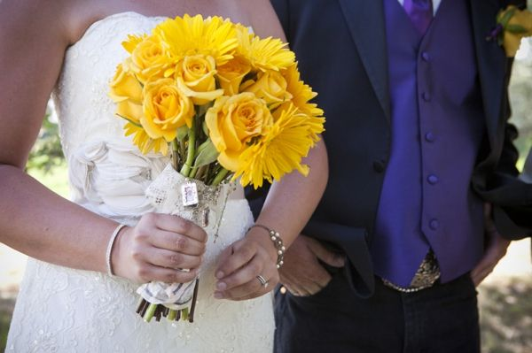 A couple's love story accompanies this pretty, purple and yellow, rustic wedding.