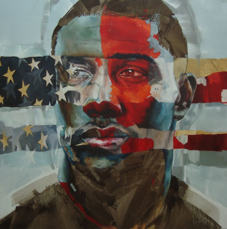 "Portrait by Corné Eksteen - ""The American"" Oil on canvas, 100 x 100cm"