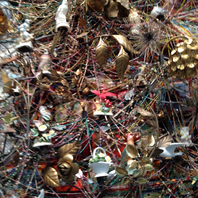 Nick Cave wall sculpture close up.