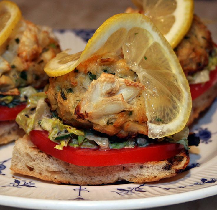 Crab Cake Sandwich: Toasted Focaccia With Crab Cake, Roasted Garlic, Lettuce and Lemon