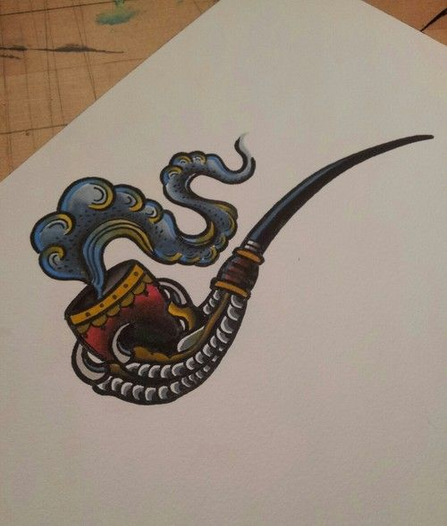 Tattoo flash - a claw pipe (and is it just me, or does that smoke look a bit like a tentacle?) LOVE the concept - CR
