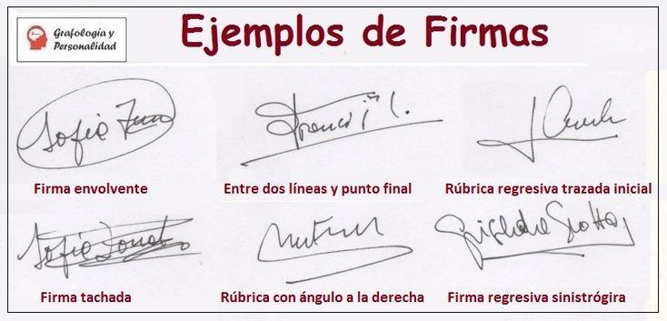 Grafología ejemplos de firmas