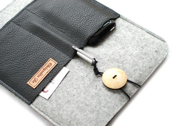 Notebooktaschen - Filz&Leder IPAD-Hülle mit 3 Fächer! - ein Designerstück von Chiquita-Jo bei DaWanda