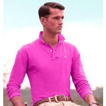 Men Polo Shirt Long Sleeve, hotpink