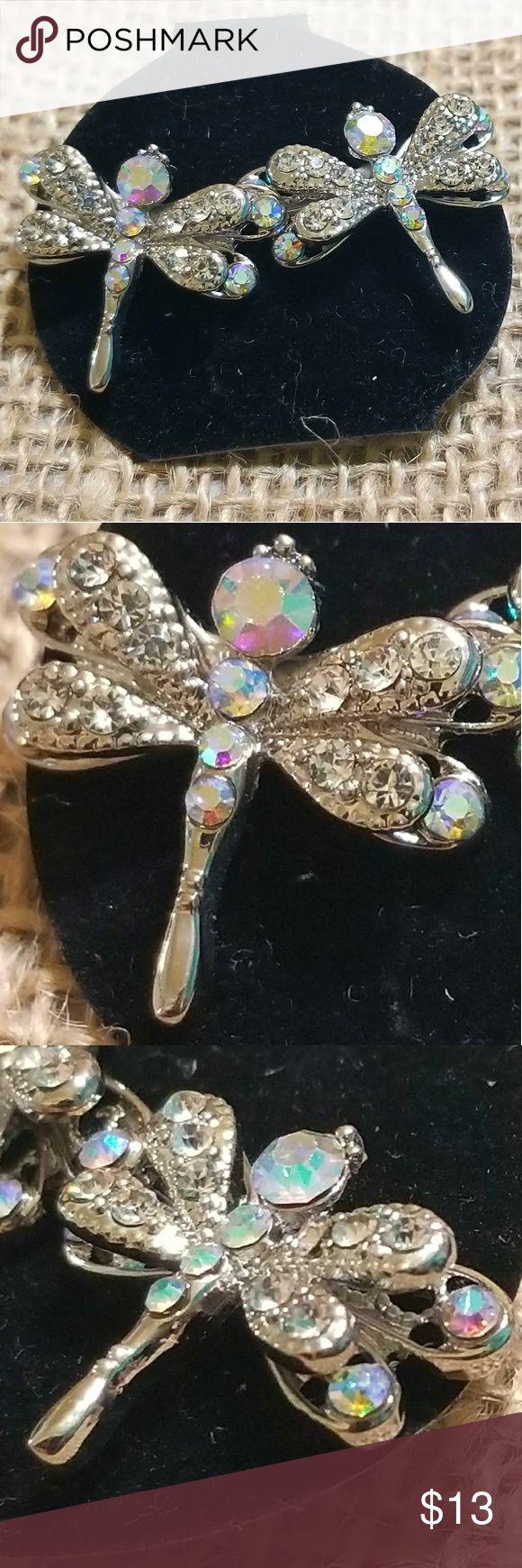 """Crystal Dragon Fly Earrings Crystal Dragon Fly Earrings Studs 3/4"""" x 1"""" Jewelry Earrings"""