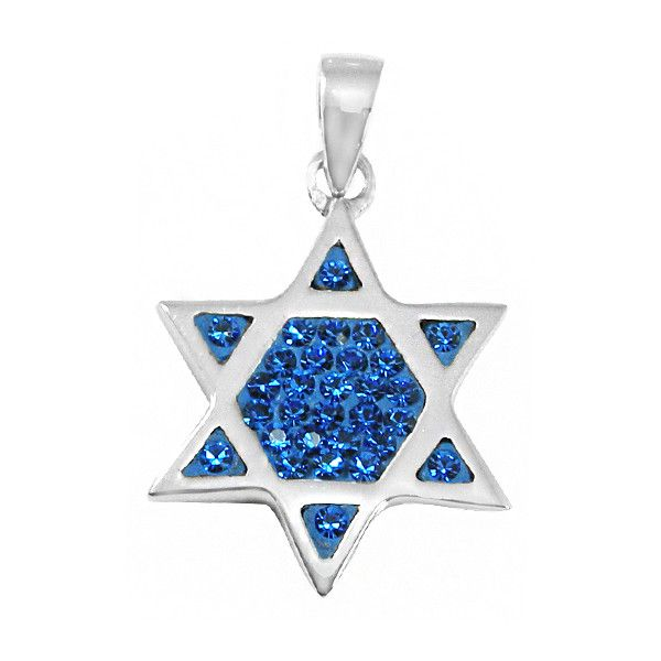 Sterling Silver & Crystal Magen David (Jewish Star) Pendant... (120 BRL) ❤ liked on Polyvore featuring jewelry, pendants, sterling silver star jewelry, sterling silver pendants, sterling silver crystal pendant, charm pendant and star pendant