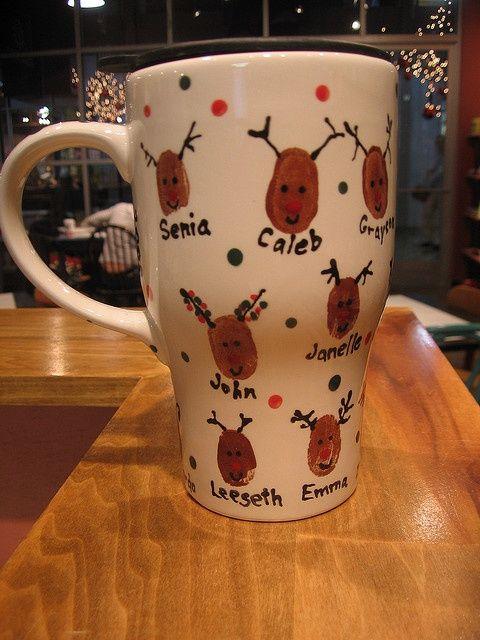 Christmas Gift Idea ~ Reindeer Thumbprint Coffee Mug... grandparents would love this! Dollar Tree mugs Acrylic paint Sharpie details bake to make dishwasher safe?