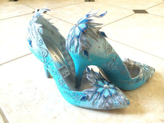Cosplay Adults  Elsa Shoe Inspired from Disney Frozen Movie- Hand Decorated Snowflakes in Heels or Flats on Etsy, $75.00