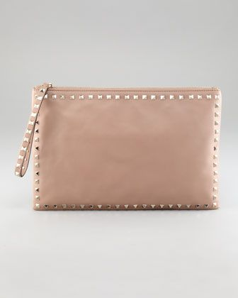 Rockstud Leather Clutch Bag by Valentino at Neiman Marcus.