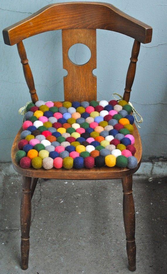felt ball seat cushion. Photographer Kirstine Mengel like this