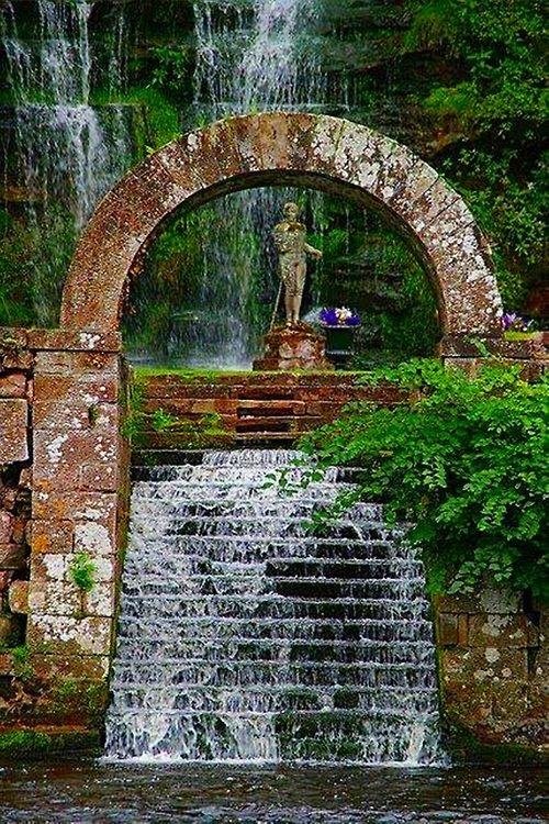 Waterfall Arch, Corby Castle, Lake District, England.