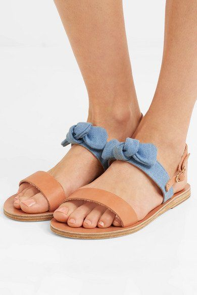 Clio Bow-embellished Denim And Leather Sandals - Tan Ancient Greek Sandals jViVXTFOWy
