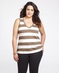 striped slub active t-shirt | Shop Online at Addition Elle