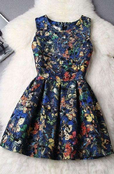 Vestido Azul Com Borboletas