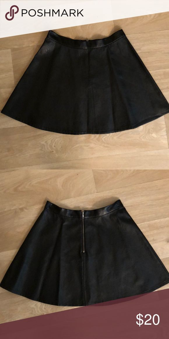 High waisted vegan leather skirt Black vegan leather, never worn American Eagle Outfitters Skirts High Low