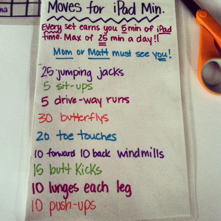 made a list of kid friendly exercises and they earn