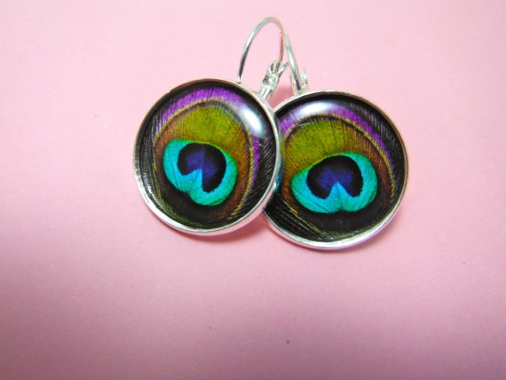 Purple Turquoise Peacock Feather Earrings  by TheSmileEmporium, $12.00