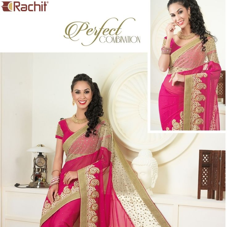 Wear something that fall smoothly over your frame! Buy Striking Pink Georgette Designer Sarees.