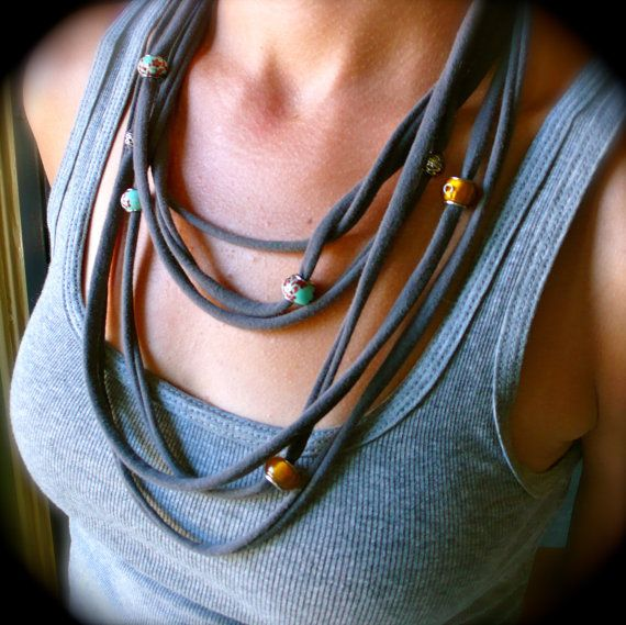 Recycled T-shirt  Beaded Fabric Necklace