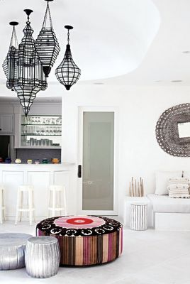 Moroccan global style - with modern lanterns, a peacock mirror from India and a giant suzani pouffe!
