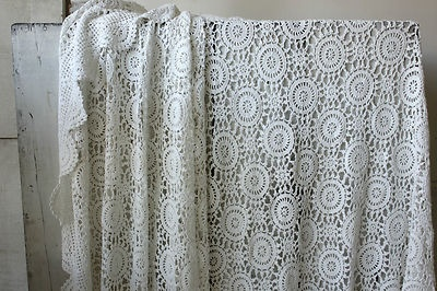 Vintage French Crochet Bed Cover Coverlet Bedspread Lace
