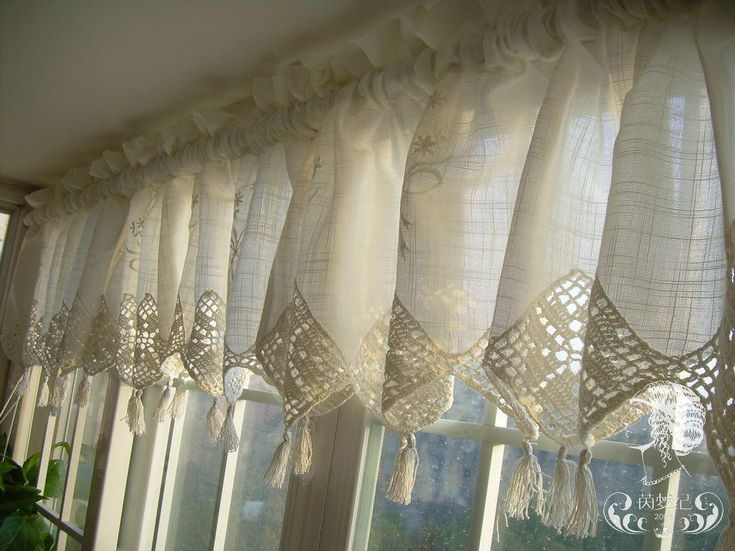 lace curtains crochet pattern | Set of French Country Lace Crochet Cafe Kitchen Curtain with Valance ...Love these