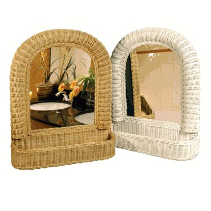 This Arch Top Wicker Mirror blends cottage styling with storage that is practical for the smallest of spaces. Wide, raised molding in a ridged weave and braided interior trim handcrafted from rattan fibers make a bold surround for the dome-shaped mirrored inset.